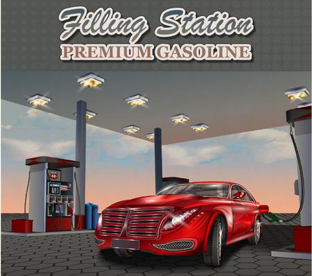 refueling: Car refueling on a filling station.Vector illustration.