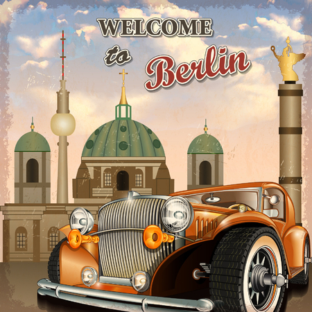 Welcome to Berlin retro poster. Illustration