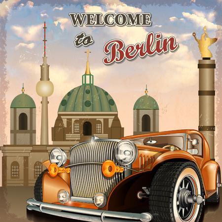 Welcome to Berlin retro poster. Stock Illustratie