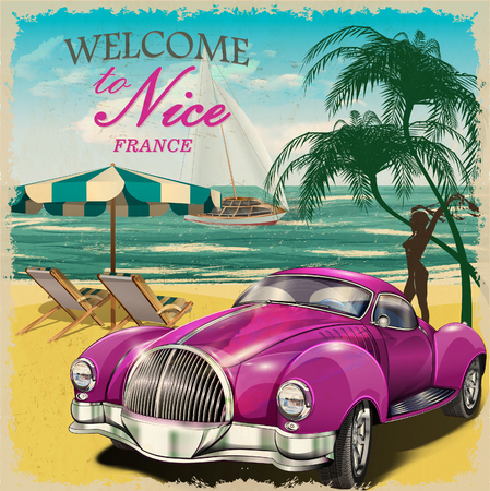 yacht: Welcome to Nice retro poster. Illustration
