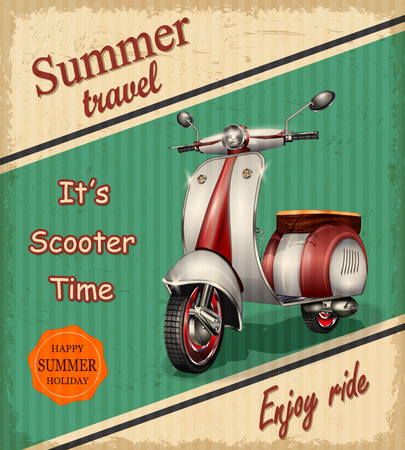 motor scooter: Summer travel retro poster with scooter.