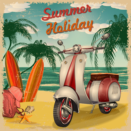 Summer holidays poster with scooter and surfboards.