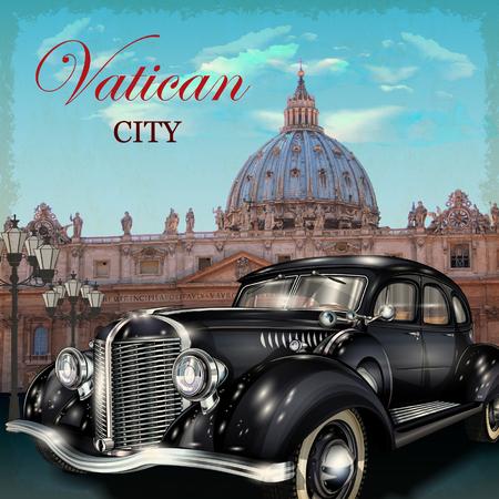 Vatican city retro poster.