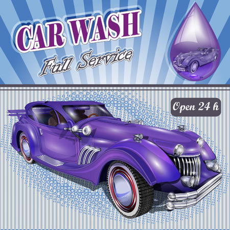 car wash: Car wash retro poster. Illustration