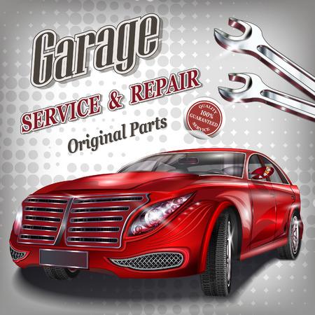 motor car: Garage with modern car poster. Illustration