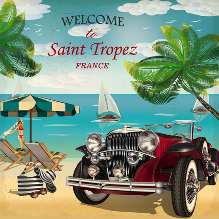 Welcome to Saint Tropez retro poster. Illustration