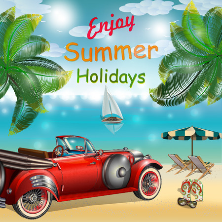 car rent: Summer tropical poster with retro car and summer elements