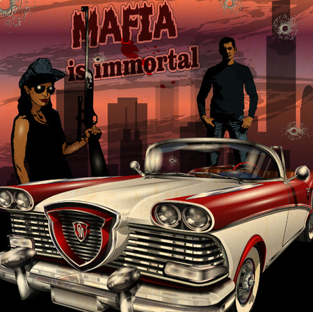 dangerous woman: Mobster couple with retro car on night city background. Illustration