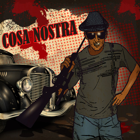 cosa: Gangster on retro car background.