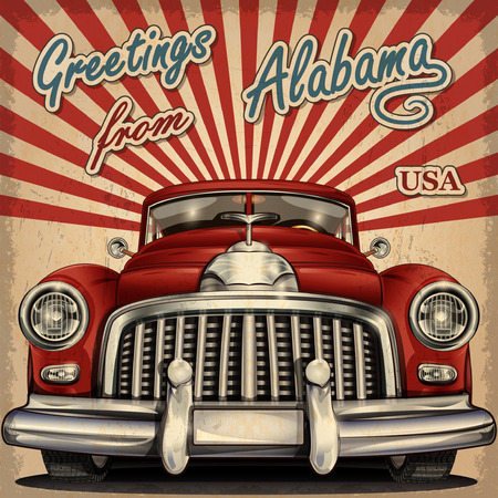 old postcards: Vintage touristic greeting card with retro car.Alabama. Illustration