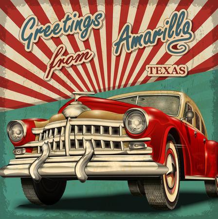 Vintage touristic greeting card with retro car.Amarillo.Texas.