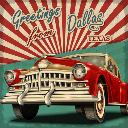 Vintage touristic greeting card with retro car.Dallas.Texas.