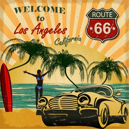 Welkom bij Los Angeles, Californië retro poster. Vector Illustratie