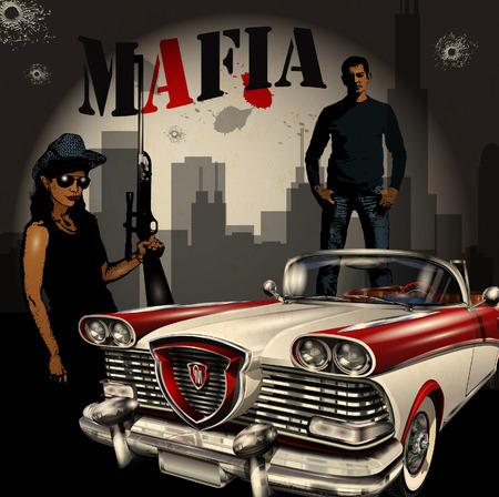 Mobster paar met retro auto op de nacht stad achtergrond.