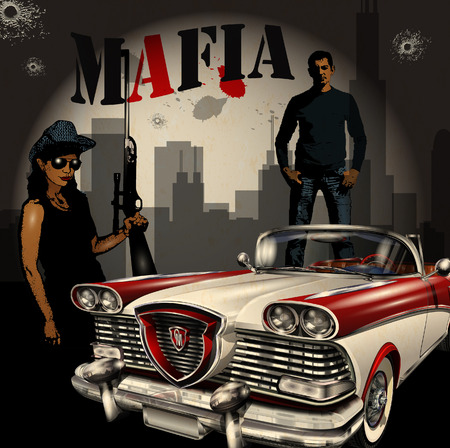 Mobster couple with retro car on night city background. Illustration
