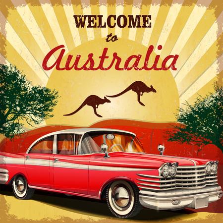 Bienvenido al cartel retro Australia. Ilustración de vector