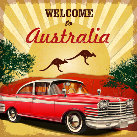 old car: Welcome to Australia retro poster. Illustration