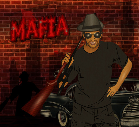 Gangster with weapon.Mafia background.