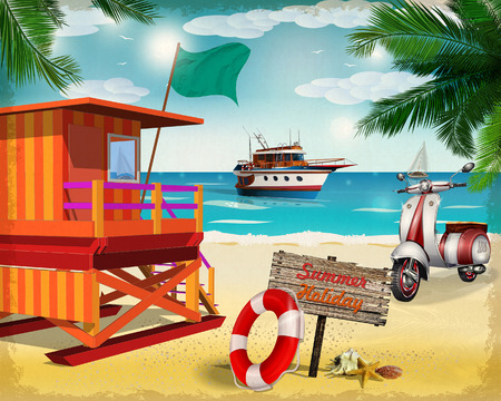 Summer poster with lifeguard tower, scooter and yacht.