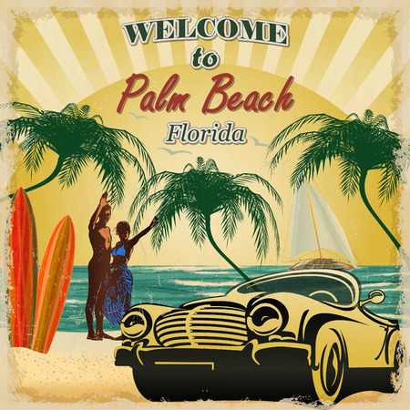 Welcome to Palm Beach, Florida retro poster.