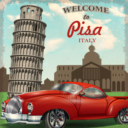 Welcome to Pisa retro poster. Illustration