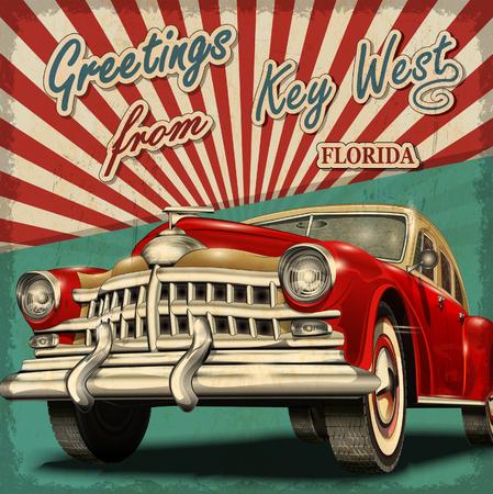 Tarjeta de felicitación de la vendimia con el coche retro turístico. Key West. Florida. Foto de archivo - 69427023