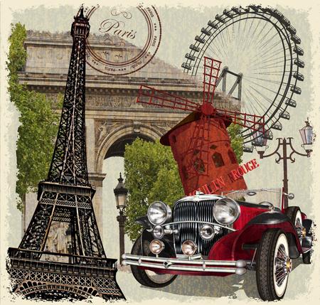 パリのヴィンテージのポスター。  イラスト・ベクター素材
