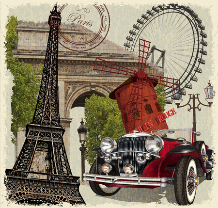 Paris vintage poster. Stock Illustratie