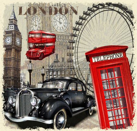 London vintage poster. Illustration