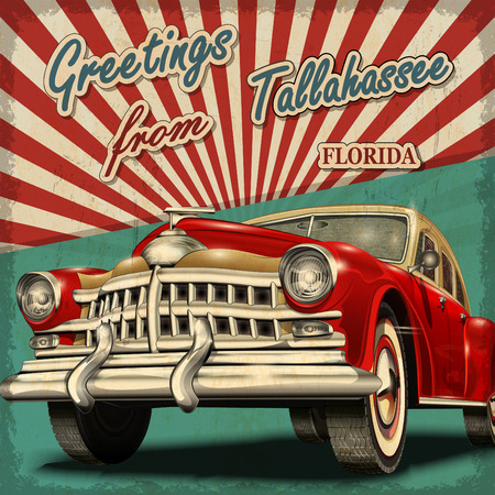 vintage card: Vintage touristic greeting card with retro car.Tallahassee. Florida. Illustration