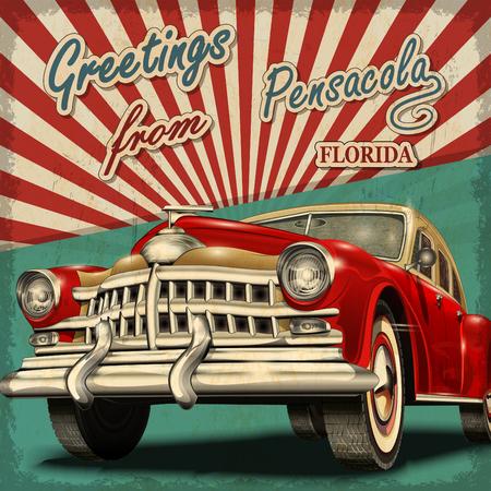 Vintage touristic greeting card with retro car.Pensacola. Florida. Vector Illustration