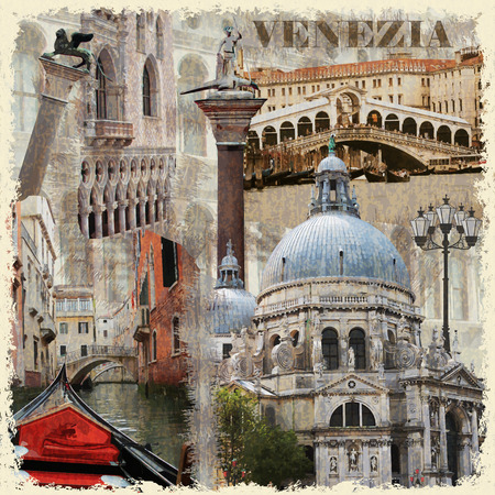 rialto: Venice vintage poster. Illustration