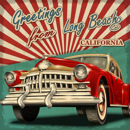 Vintage touristic greeting card with retro car.long Beach. California.