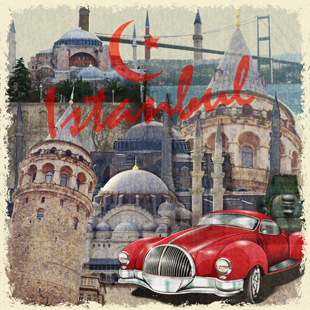 Istanbul vintage poster. Illustration