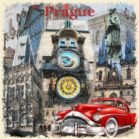 vintage: Prague vintage poster.