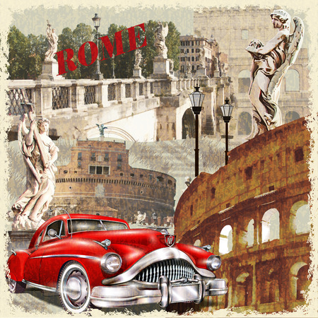 travel collage: Rome vintage poster.