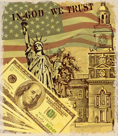 USA vintage poster with landmark and symbol of Freedom and Democracy,