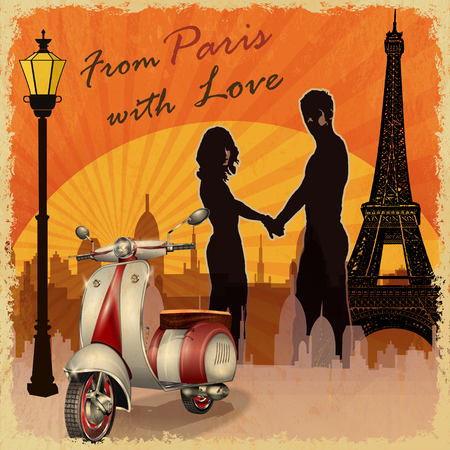 romantic: Romantic background. Happy young lovers in Paris. Illustration