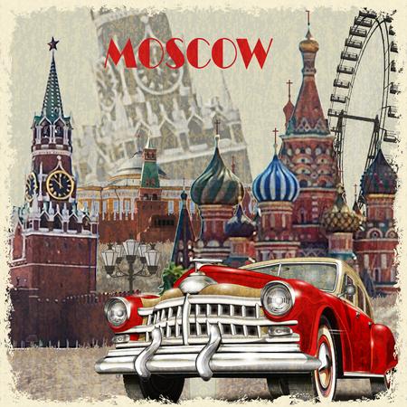 Cartel del vintage de Moscú. Foto de archivo - 70228376