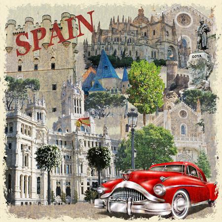 스페인 빈티지 포스터. 일러스트