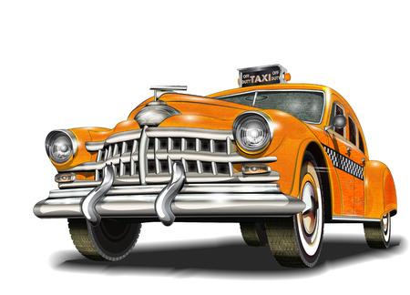 Yellow taxi retro car.