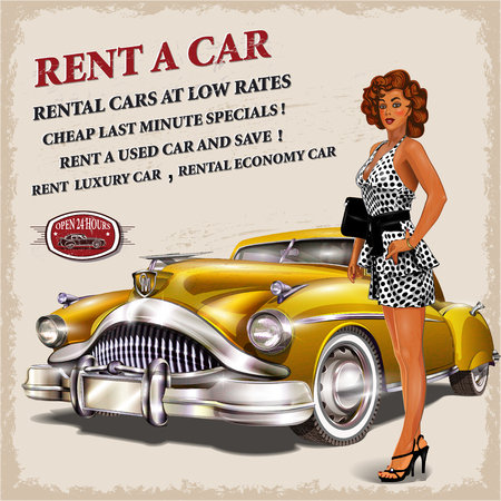 vintage car: Rent a car retro poster. Illustration