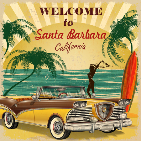 Welcome to Santa Barbara, California retro poster.