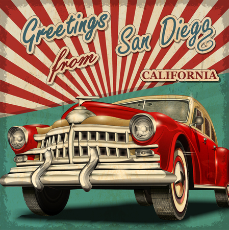 Vintage touristic greeting card with retro car. San Diego. California.