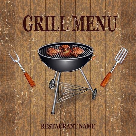 sausages: Grill Menu vintage banner.