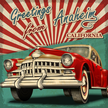 Vintage touristic greeting card with retro car. Anaheim. California. Ilustração