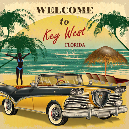 Welcome to Key West, Florida retro poster. Illustration
