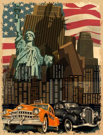 뉴욕 빈티지 포스터입니다. 일러스트