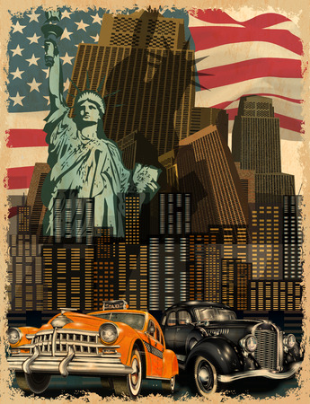 New York, affiche vintage.