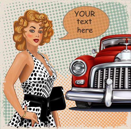 Vintage background with pin-up girl and retro car 矢量图像